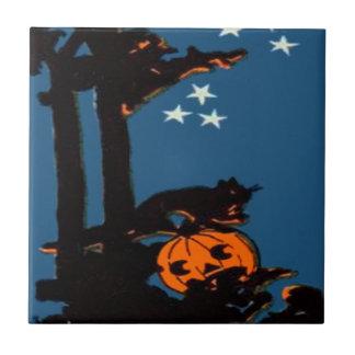 カボチャジャックOのランタン猫のオレンジ黒 タイル