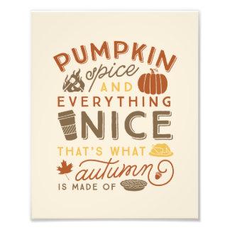 カボチャスパイスの印刷の秋の秋の芸術のプリント フォトプリント
