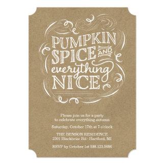 カボチャスパイスの秋の秋のパーティの招待状 12.7 X 17.8 インビテーションカード