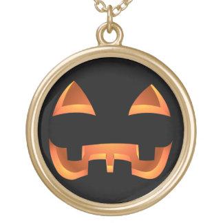 カボチャネックレスのハロウィンハロウィーンのカボチャのちょうちんのネックレス ゴールドプレートネックレス