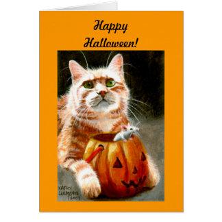 カボチャハッピーハローウィンのマウスを持つ猫! カード
