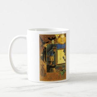 カボチャハロウィーンのカボチャのちょうちんの魔法使いのフクロウのこうもりの緑猫 コーヒーマグカップ