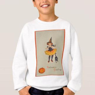 カボチャハロウィーンのカボチャのちょうちんの魔法使いの黒猫 スウェットシャツ