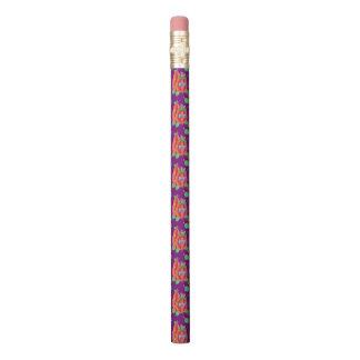 カボチャパターン紫色の鉛筆の後ろの猫 鉛筆
