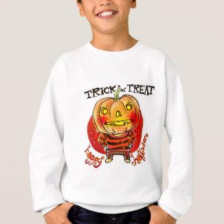 カボチャヘッドハロウィンの男の子のトリック・オア・トリートの漫画 スウェットシャツ