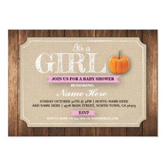 カボチャベビーシャワーそれは女の子のバーラップの招待です カード