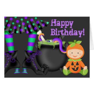カボチャベビーnの魔法使いの足のハロウィンのかわいい誕生日 カード