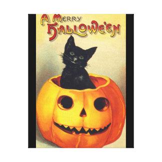カボチャヴィンテージの芸術のハロウィンの黒猫 キャンバスプリント