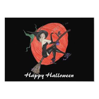 カボチャ及び魔法使いのハロウィンの招待 カード