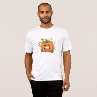 カボチャ大きいスマイルのEmojiの感謝祭ハロウィン Tシャツ