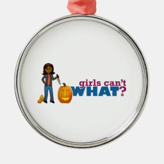 カボチャ女の子を切り分けること メタルオーナメント