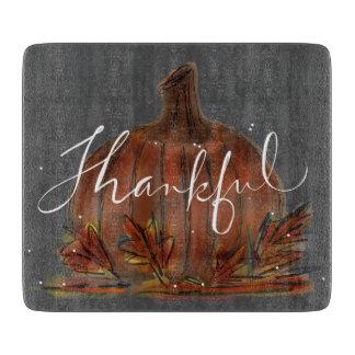 カボチャ感謝している黒板のガラスまな板 カッティングボード