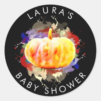 カボチャ水彩画のベビーシャワーの秋季 ラウンドシール