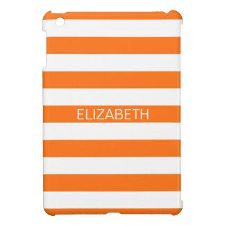 カボチャ白いHorizのプレッピーでストライプな一流のモノグラム iPad Miniケース