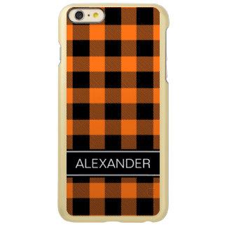 カボチャ黒いバッファローの点検の格子縞の名前のモノグラム INCIPIO FEATHER SHINE iPhone 6 PLUSケース