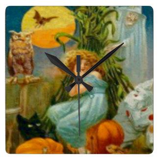 カボチャ黒猫の魔法使いのピエロのフクロウのカエルのこうもり スクエア壁時計