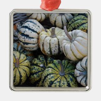 カボチャ、ひょうたん、秋の収穫 メタルオーナメント