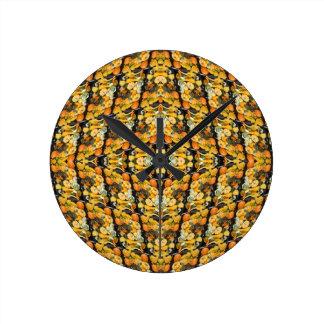 カボチャ、南瓜およびひょうたん-抽象芸術 ラウンド壁時計