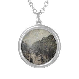 カミーユ著通りのMontmartreの霧深い朝… シルバープレートネックレス