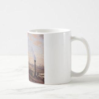 カミーユ・ピサロ著泥灰質港のセーヌ河 コーヒーマグカップ