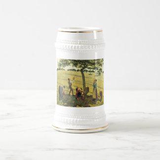 カミーユ・ピサロ- Appleの収穫のEragny 1888の油 ビールジョッキ