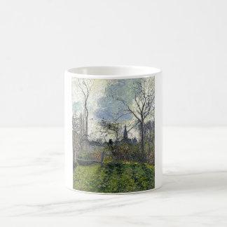 カミーユ・ピサロ- Bazincourt 1885年の鐘桜 コーヒーマグカップ