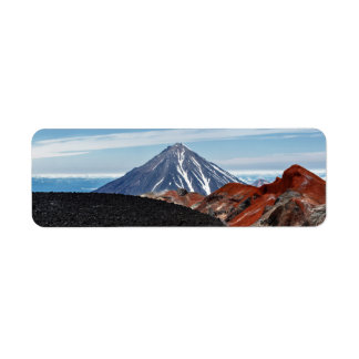 カムチャツカ半島のパノラマの火山景色 返信用宛名ラベル