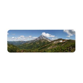 カムチャツカ半島のパノラマ式の夏の火山景色 返信用宛名ラベル