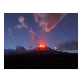 カムチャツカ半島の夜噴火Klyuchevskaya Sopka ポストカード