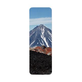カムチャツカ半島の景色の火山景色 返信用宛名ラベル