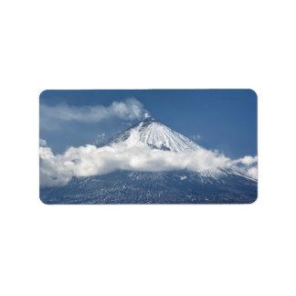 カムチャツカ半島の活火山の眺め 宛名ラベル