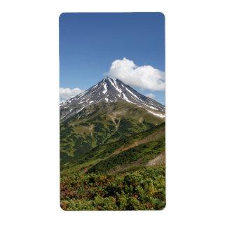カムチャツカ半島の美しい夏の火山景色 発送ラベル