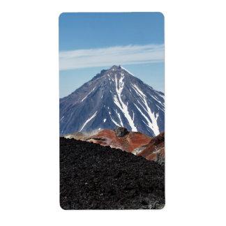 カムチャツカ半島の美しい火山景色 ラベル