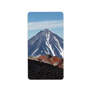 カムチャツカ半島の美しい火山景色。 ロシア ラベル