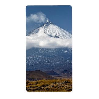 カムチャツカ半島のStratovolcano。 ユーラシア 発送ラベル