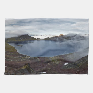 カムチャツカ半島山の景色: 火山湖 キッチンタオル