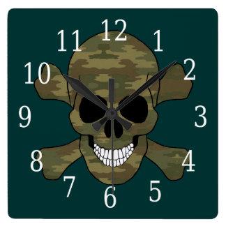カムフラージュのどくろ印の時計 スクエア壁時計