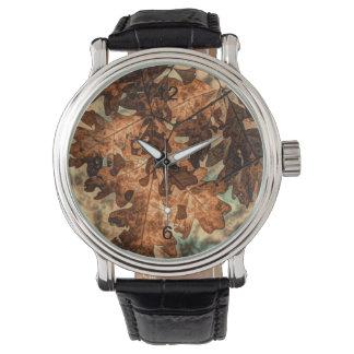 カムフラージュのオレンジ紅葉の紅葉 腕時計