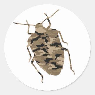 カムフラージュのゴキブリのシルエット ラウンドシール