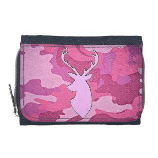カムフラージュのシカの頭部のジーンのピンクの財布