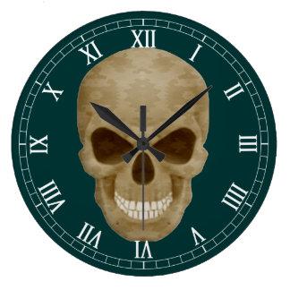 カムフラージュのスカルのローマ数字の時計 クロック