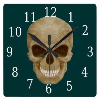 カムフラージュのスカルの時計 ウォールクロック