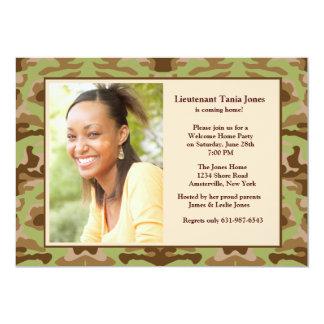 カムフラージュのブラウンの写真の招待状 カード