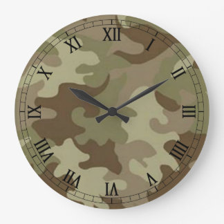 カムフラージュの円形のローマ数字の時計 時計