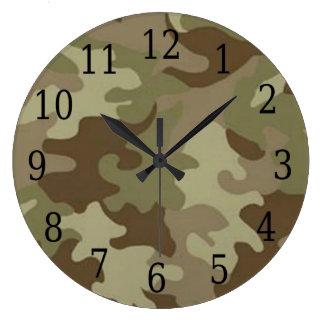 カムフラージュの円形の時計 ラージ壁時計