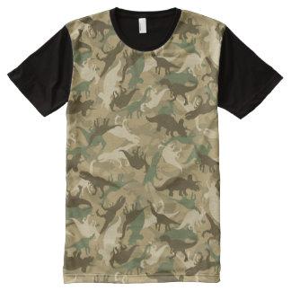 カムフラージュの恐竜のTシャツ オールオーバープリントT シャツ