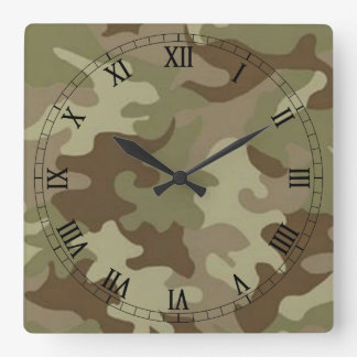 カムフラージュの正方形のローマ数字の時計 壁時計