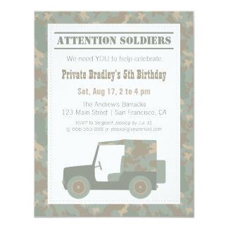 カムフラージュの軍のプリントの軍隊の誕生会 10.8 X 14 インビテーションカード