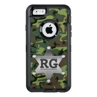 カムフラージュの迷彩柄の保安官のバッジの緑|のモノグラム オッターボックスディフェンダーiPhoneケース