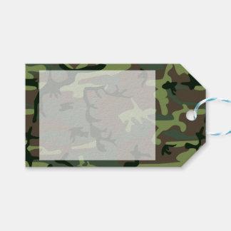 カムフラージュの迷彩柄の緑のブラウンパターン ギフトタグ